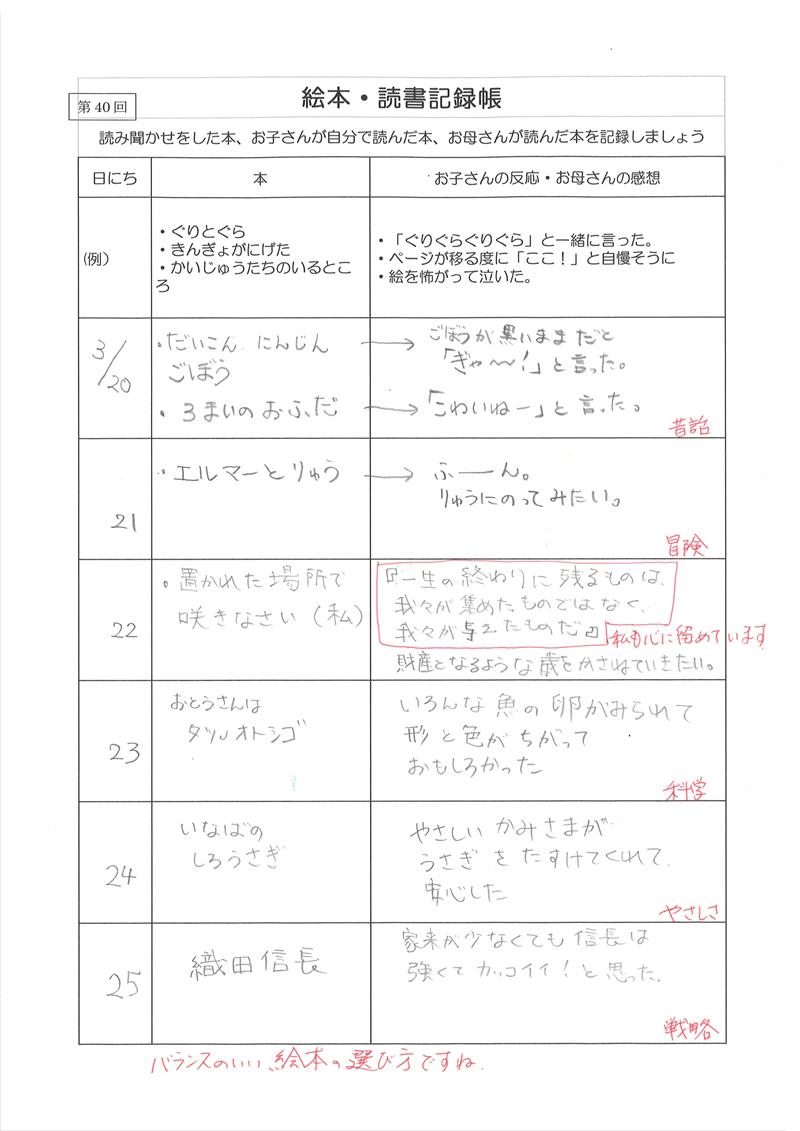 絵本・読書記録帳 実例集01