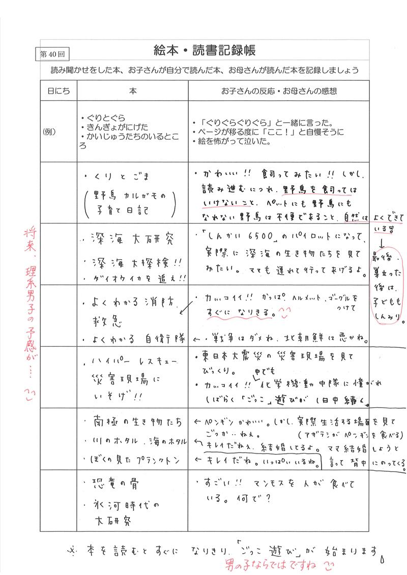絵本・読書記録帳 実例集03
