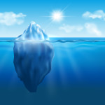 Vector iceberg floating in blue ocean with sun and clouds in the sky